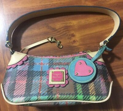 AUTHENTIC VINTAGE Doone& Bourke Multi Color Plaid Leather Heart Fob Handbag RARE
