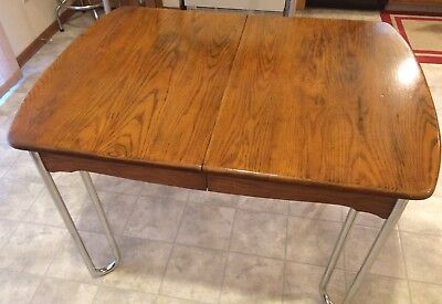Sellers Kitchen Table Indiana Solid Oak Table - Tawny w/ Leaf and Chrome legs