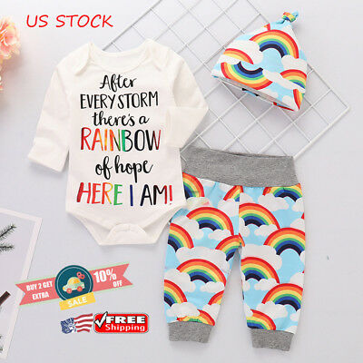Newborn Baby Girl Boy Rainbow Romper Tops Jumpsuit+Pants Hat Outfits Clothes Set