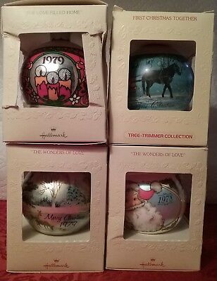 """4 Vintage 1978, 1979 & 1980 Hallmark Ornament """"our First Christmas Together"""""""