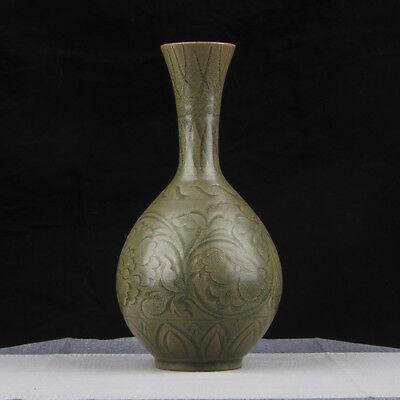 Amazing Special Old Chinese Rare Green Flowers Porcelain Bottle Vase Mark FA076