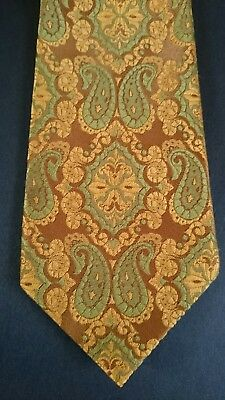 Vintage Retro Mens Tie by 'Austico Gold Line'  Gold and Green