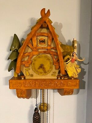 Disney , Snow White cuckoo clock . Carved wood limited edition of 1000