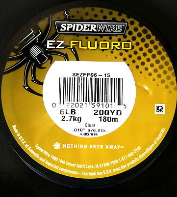 200 Yards - Spiderwire - 6 Lb Ez Fluoro Fishing Line - 100% Fluorocarbon - Clear