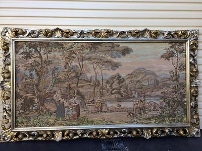 Large Antique Tapestry Picture Frame