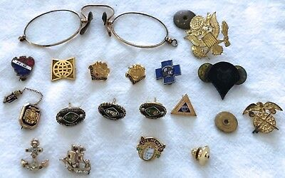 lot of vintage service club member pins military gold specs enamel year