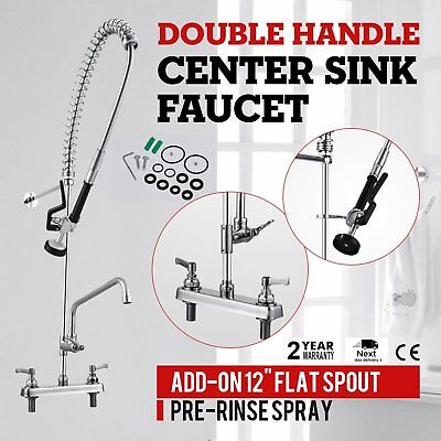 "12"" Commercial Wall Mount Kitchen Pre-Rinse Faucet w/ Add-On Restaurant Tap HD"