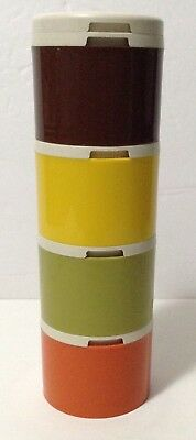 Vintage Tupperware Stackable Spice Container Shakers 1308 Harvest Colors