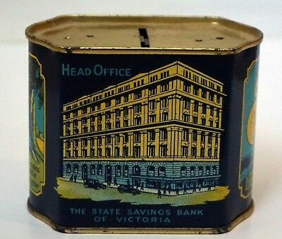 Vintage metal State Bank of Victoria money box