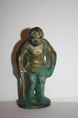 Vintage Caveman Bronze Metal Figure From Coal MIning Closed Old Company Store