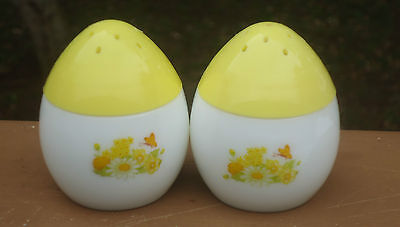 Vintage AVON White Milk Glass Egg Shaped Salt & Pepper Shakers *Yellow Lids