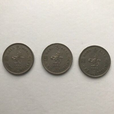 3 X 1970 ONE DOLLAR Hong Kong Coins - Circulated -