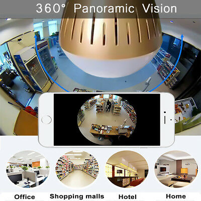 1080P HD 360° Panoramic Hidden wifi IP Camera Light Bulb Home Security Video Cam
