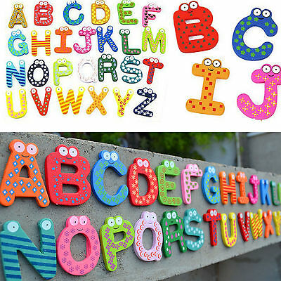 Animal 26 Magnetic Letters Wooden Fridge Magnets Baby Kid Education Toys