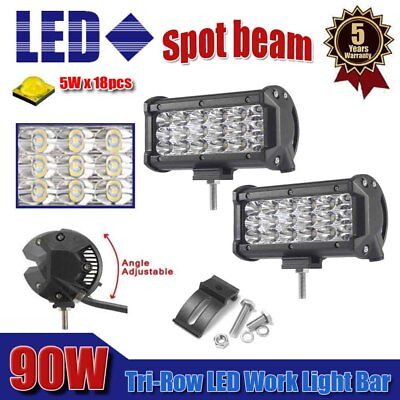 2X Tri-Row 7inch 90W Spot Beam Led Work Light Bar Offroad 4WD SUV Truck Driving