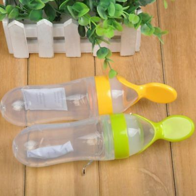 Baby Silicone Squeeze Feeding Bottle With Spoon Kid Food Rice Cereal Feeder 90ML