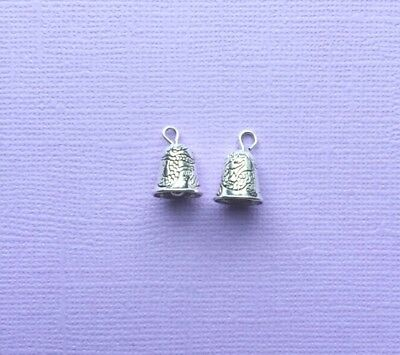 2  Antique Silvertone Real Bell Charms with etched detail