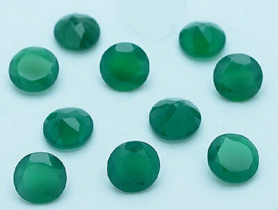 10 Pcs Wholesale Lot Green Onyx 6X6 Mm Round Shape Faceted Cut Loose Gemstone-01
