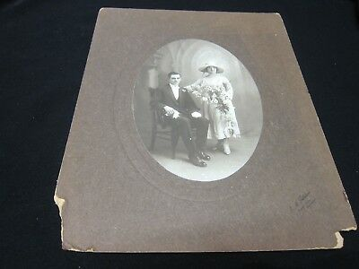 Antique Wedding Photo - 1900's - Wedding Portrait Couple 305mm x 240mm