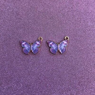 2 Gold Plated  Purple Enamel Butterfly Charms
