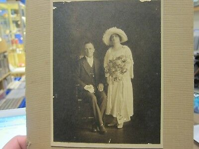 Antique Wedding Photo - 1920's - Couple Portrait - Note on Back - Prahran Studio