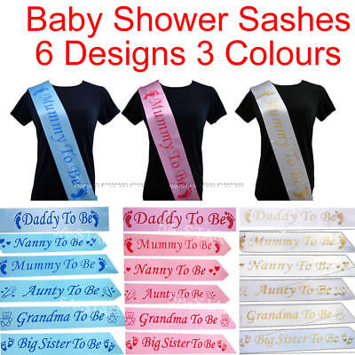 BABY SHOWER SASHES Mummy Nanny Aunty Grandma Big Sister to be party Satin Sash