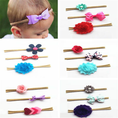 Baby Toddler Kids Girls Simple Bow Headband Nylon Hair Band Accessories Gifts UK