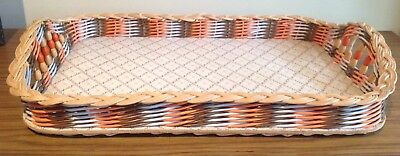 RETRO COLLECTABLE VINTAGE WICKER TRAY SERVING 1950's Rectangle DRINKS Thebarton