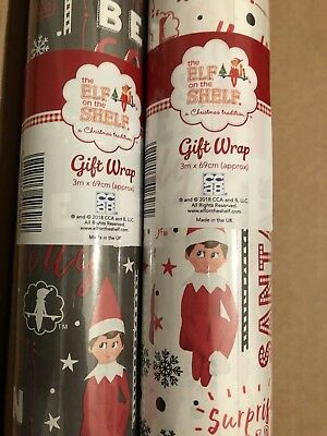 6m (2 x 3m) ELF on shelf wrapping paper Christmas Gift Wrap Wrapping Paper