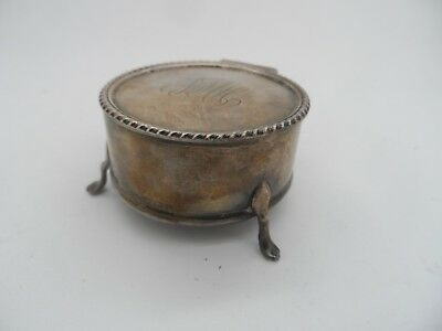 Antique Silver Trinket Box William Henry Leather Birmingham-1917 No Reserve