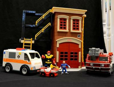 FISHER PRICE Imaginext FIRE STATION & ENGINE AMBULANCE figures GLEN IRIS rescue