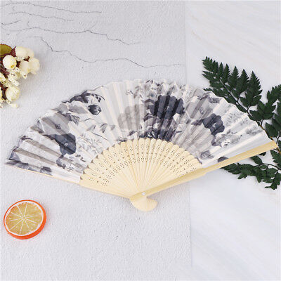 vintage bamboo folding hand held flower fan chinese dance party pocket gifts DE