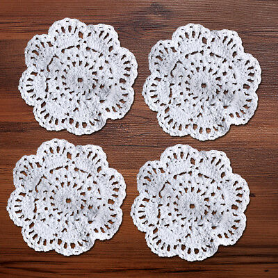 4Pcs/Lot White Vintage Hand Crochet Lace Doilies Round Cotton Table Mats 10cm