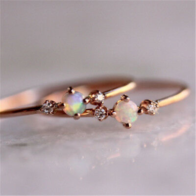 5 Sizes Rose Gold Color Micro-encrusted Small Ring Ladies Women Rings Z