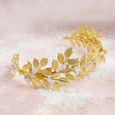 Women Bridal Wedding Prom Gold Pearl Leaf Hair Band Headband Tiara Accessories