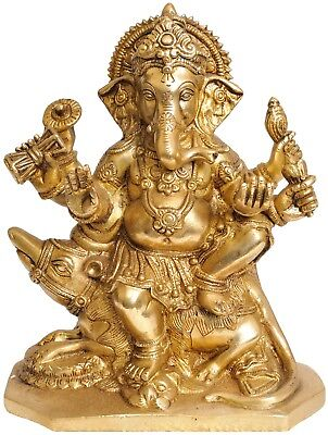 Mouse Mounted Bhagwan Shree Ganesha Brass Statue For Gifting And Temple Décor 8""