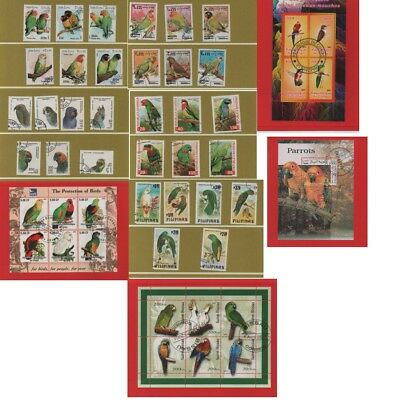 Thematic stamps Birds - Parrots 5 sets & 4 miniature sheet - used CTO