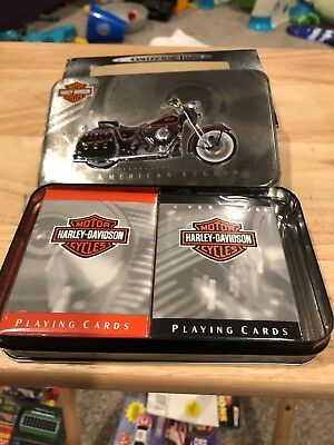 Harley Davidson American Legend playing card set new in the collector tin.