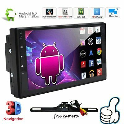 """7"""" Smart Android 6.0 4G WiFi Double DIN Car Radio Stereo NO DVD Player GPS+Cam H"""