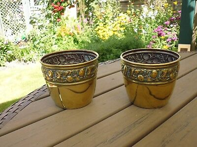 Pair Of Rare Vintage Small Brass Pot Holders With Decorative Rims