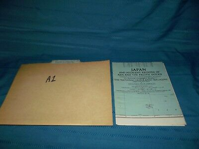Vintage 1944 Map of Japan and Adjacent regions of Asia Pacific Ocean WW2 era