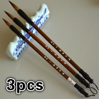 3Pcs Art Painting Ink Storage Writing Tools Wool Chinese Calligraphy Brush
