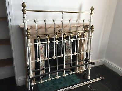 Victorian cast iron brass beds one 4ft wide (but had wider base) other is 3ft 6