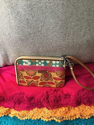 Handbag Fossil Vintage Tulip Multi-Color Coated Canvas Credit Card Zip Wristlet