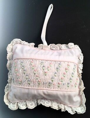 Vintage Baby Smocked Hanging Pillow Music Box by House of Hatten Lace Trimmed