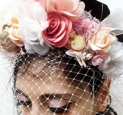 Wedding/bridal Handcrafted Floral Veil Crown Diadema Headband  In Style D&G+GIFT