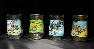 lot of 4 Endangered Species Welch's Jelly Jars