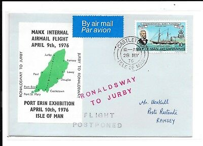 Gb Isle Of Man 1976 Postponed Flight   Exhibition Cover