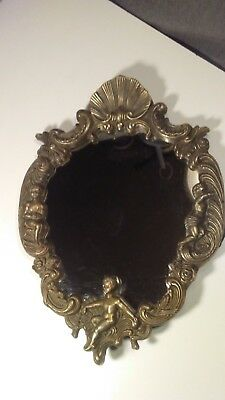 Antique Vintage Art Deco Nouveau Brass Metal & Glass Wall Hanging Vanity Mirror