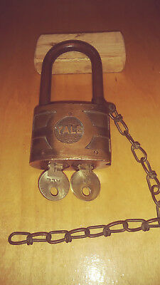 vintage /antique yale 937B  bicentric padlock  works good w/both keys  #50 / #13